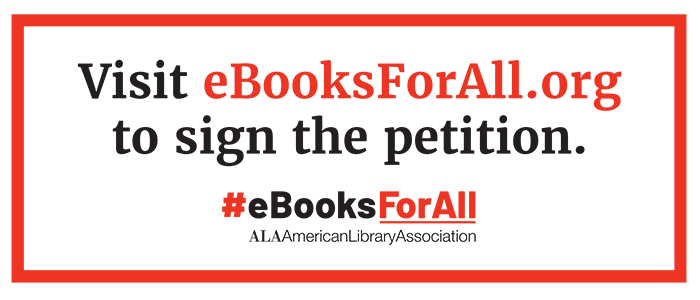 Table tent: Boombox digital graphic: Visit ebookforall.org to sign the petition, #eBooksForAll