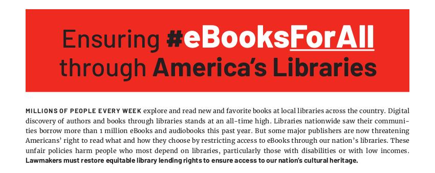 Ensuring eBooksForAll through America's Libraries.